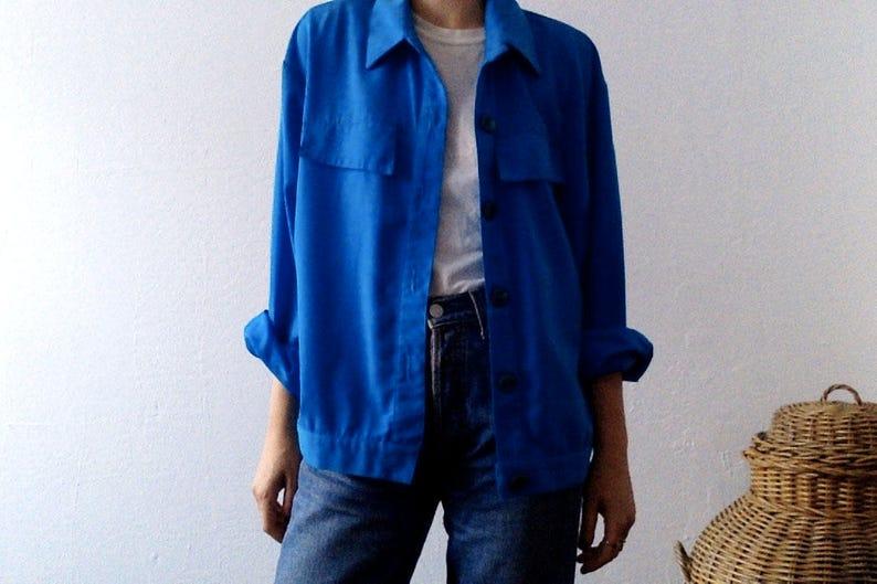 21123d300c Vintage 80s Indigo Saint Germain Paris Shirt Jacket