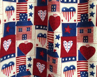 Americana Valance, Country valance, Red, White, and Blue country curtains, American flag valance, Heart valance, Star Curtain