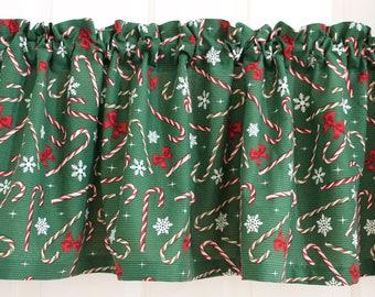 Christmas curtains, Christmas valances, Christmas decor, Candy cane decor, Christmas dining room decor, kitchen decor, kitchen curtains