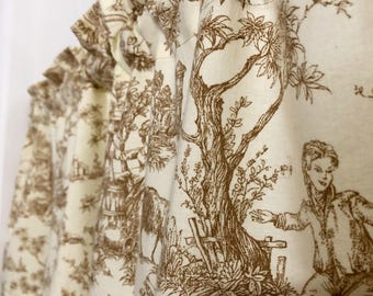 Country French toile De Jouy, Kitchen Curtains, valances, Country Curtains, Country Valances, French Toile De Jouy curtains, kitchen decor