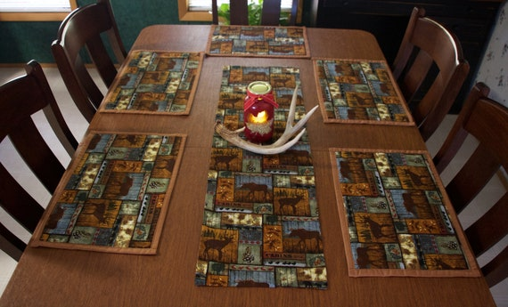 placemats, table runners, country kitchen decor, rustic cabin decor,  kitchen decor, home decor,table settings, cabin decor, hunting decor
