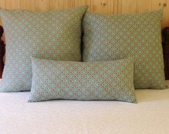 Pattern throw pillow, decorative pillow, geometric pillow, gray and aqua pillow, bolster pillow. modern chic pillow, bedding, bedroom decor