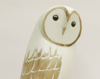 White Owl Standing on Tree Log - Hand Carved and Painted Wood Ornament as Table Decoration (Large Size ) (no 28)