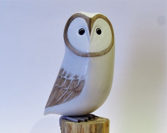White Owl Standing on Tree Log - Hand Carved and Painted Wood Ornament  as Table Decoration (Small Size ) (no 159)