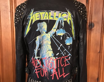 Blackened / Rehabbed Metallica Justice For All Studded & Patched Vegan Leather Moto Jacket