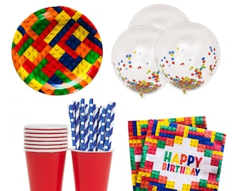 Block Party, Build Block Birthday, Block Party, Block Birthday Ideas, Build Block Plates, Building Block Napkins, Building Blocks