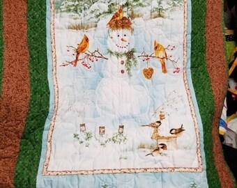 Red Bird & Snowman Winter Scene lap robe or wall hanging