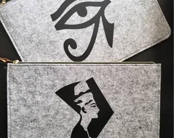 Nefertiti/Eye of Horus felt clutch/make-up bag
