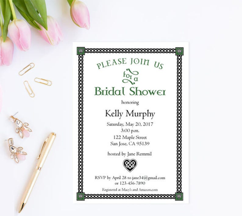 22fed511e028 Irish Bridal Shower Invitation Template Printable Wedding