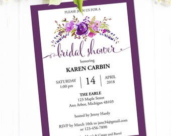 Bridal Shower Invitation Instant Download, Printable Bridal Shower Invites with Purple Flowers, Editable PDF Template #MCS-03