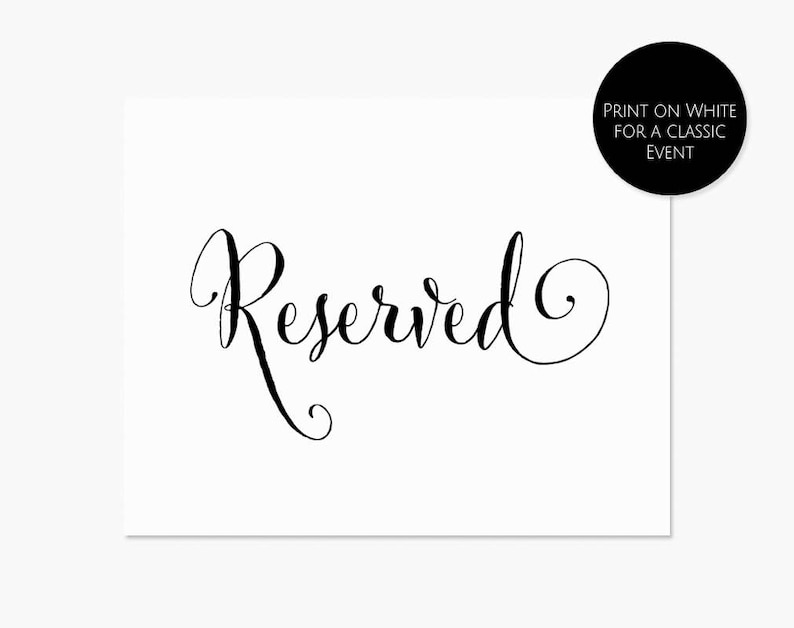 picture relating to Printable Reserved Sign referred to as Printable Reserved Indicator, 8x10 Reserved Desk Indication, Immediate Down load Template #MCS-106