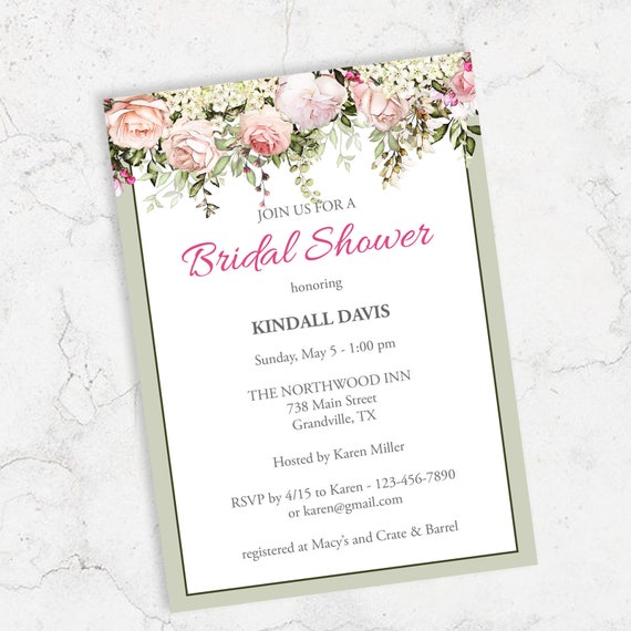 image regarding Printable Wedding Shower Invitations titled Bridal Shower Invitation Prompt Down load Template, Printable Wedding ceremony Shower Invites, Crimson Rose Bouquets Editable PDF #RBS-01