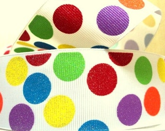 1.5 inch GLITTER POLKA DOTS Printed Grosgrain ribbon, hair bow ribbon,  1, 3, 5, 10 or 25 yards