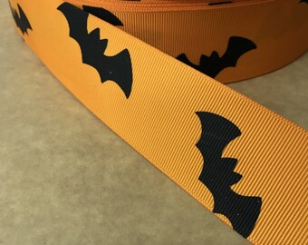 1.5 inch HALLOWEEN bats Printed Grosgrain ribbon, hair bow ribbon,  1, 3, 5, 10 or 25 yards