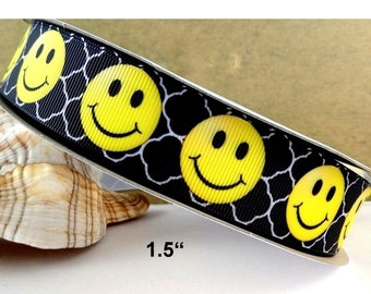 1.5 inch BLACK EMOJI Printed Grosgrain ribbon, hair bow ribbon,  1, 3, 5, 10 or 25 yards