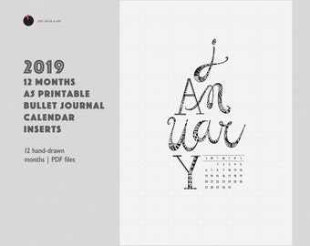 2019 Printable Calendar | 12 Months Covers | Bullet journal inserts PDF | A5 Title Pages planner template dividers