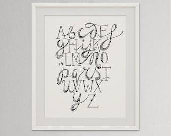 Doodle Alphabet Printable, Lettering print, Black and white Alphabet, Doodle Words, Doodle Letters, Neutral Nursery Alphabet, Alphabet Gift