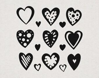 Doodle Heart Clipart svg | Love Clipart | Valentine illustration svg | dxf | png