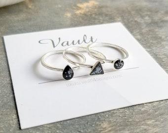 Silver Geometric Rings - Set of 3