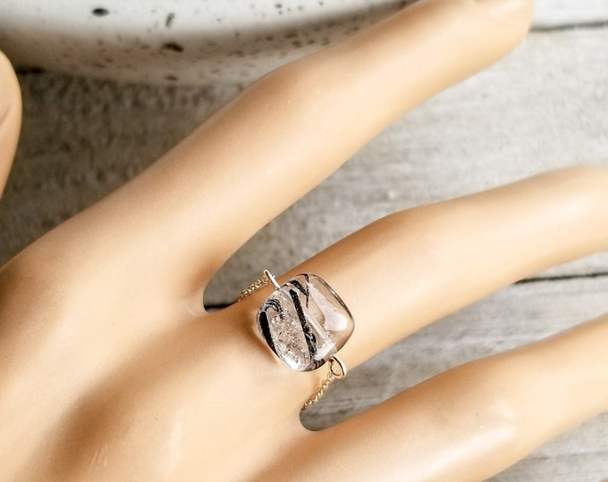Black Tourmalinated Crystal Quartz Ring