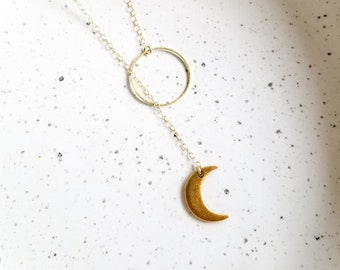 Crescent Moon Lariat Necklace