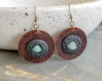 Leather & Gemstone Earrings