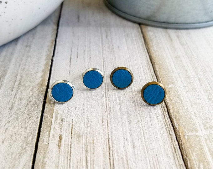 Blue Leather Studs