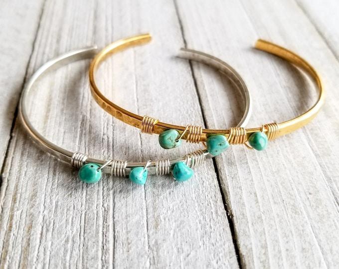 Turquoise Cuff Bracelet, Gold Cuff Bracelet, Silver Cuff Bracelet, Wire Wrapped Cuff Bracelet, Beaded Cuff Bracelet, Bohemian Cuff Bracelet