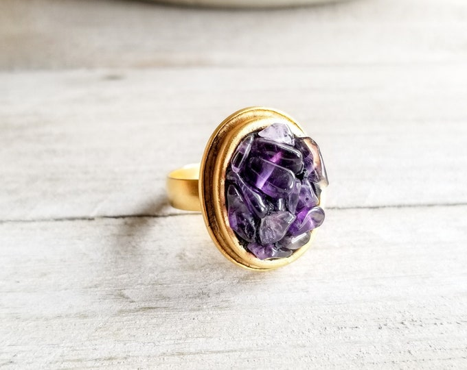 Amethyst & Gold Oval Ring - Adjustable Size