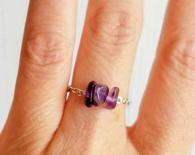 Purple Amethyst Ring, Gemstone Chain Ring, Stackable Ring, Dainty Ring, Minimalist Ring, February Birthstone Ring, Gold Ring, Silver Ring