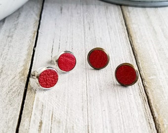 Red Leather Studs