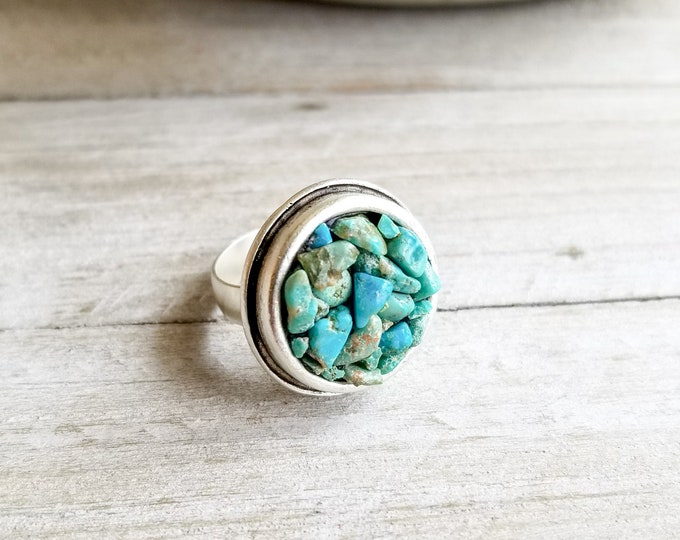 Turquoise & Silver Round Ring - Adjustable Size