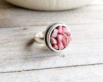 Rhodonite & Silver Round Ring - Adjustable Size