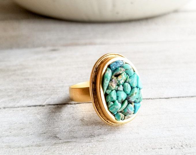 Turquoise & Gold Oval Ring - Adjustable Size