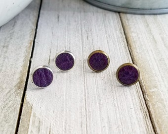 Purple Leather Studs