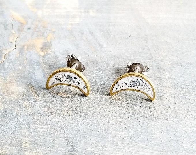 Moon Earrings - White/Silver/Black