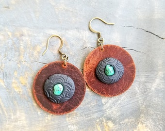 Leather & Gemstone Earrings - Turquoise
