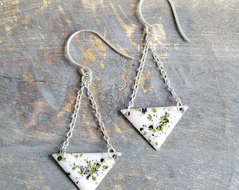 Silver Poppy Earrings - Shimmering Green/Black