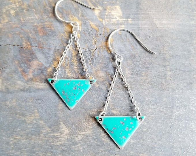 Silver Poppy Earrings - Shimmering Silver/Turquoise