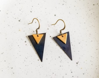 Gold & Black Triangle Earrings