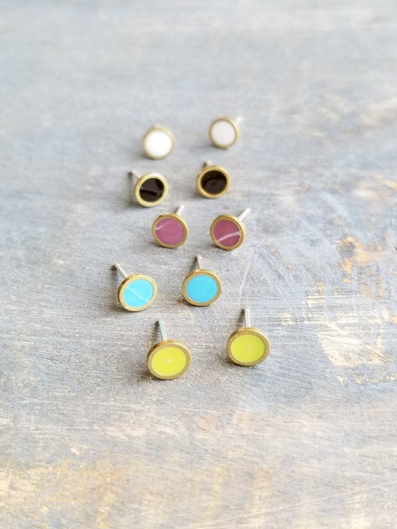 c0eeebb63 Tiny Stud Earrings Small Circle Studs Colorful Studs Brass | Etsy