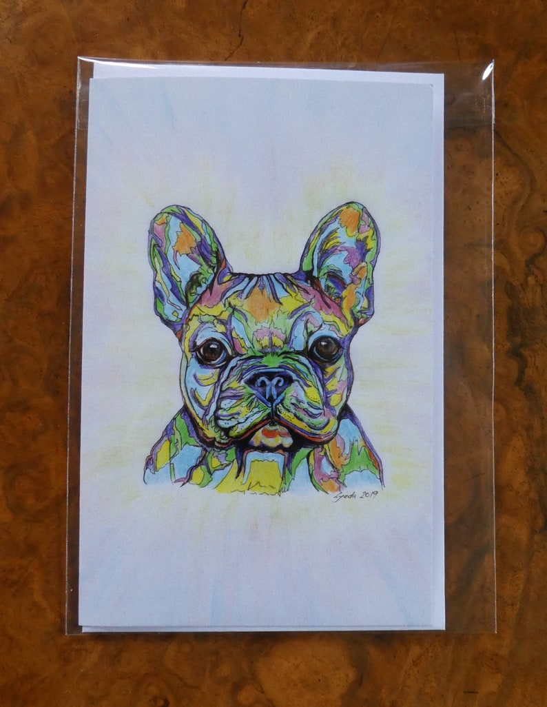 Birthday Any Occasion- Dog Lover Glossy print- Dog Colouful animal print Stationery FRENCH BULLDOG  Greetings Card Celebration