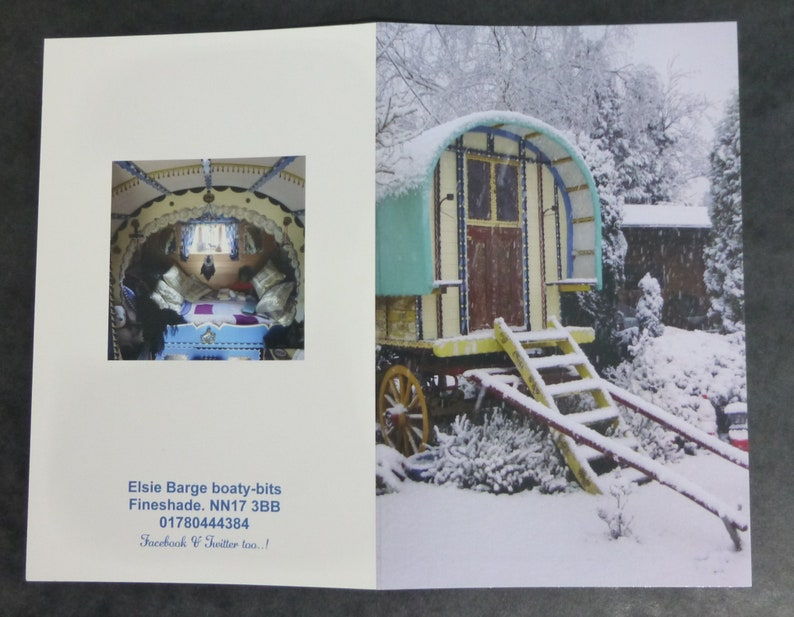 Winter Days Set three: Romany Inspired Gift Set Unique Gypsy Caravan Prints /& Greetings Card with Fridge Magnet Free Christmas Card