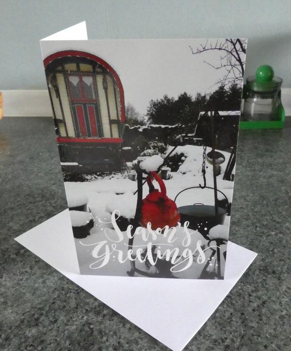 Vardo Xmas Unique 2 x GYPSY CARAVAN Christmas cards Romany greetings
