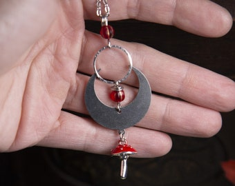 mushroom pendant necklace - stainless steel chain