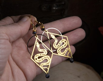 snake earrings - brass - witch - magic - reptile