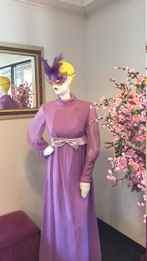 Vintage Lilac Maxi Dress - image 3