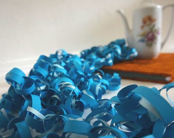 32ft / 10m long paper garland Blue Light blue curl decoration for party and wedding decorating