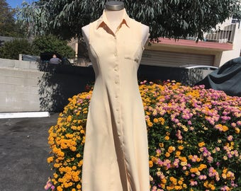 Vintage Soft Yellow Linen Blend Sleeveless Collared Button Down Dress -Small