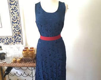Vintage Navy Blue Sleeveless Maxi Dress with Floral Embroidered Details. ~Medium